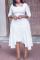 White Casual Solid Split Joint Square Collar Cake Skirt Dresses