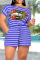 Black Casual Striped Make Old O Neck Short Sleeve Two Pieces