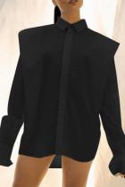Black Fashion Solid Split Joint Buckle Asymmetrical Turndown Collar Tops