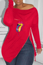 Red Fashion Casual Lips Printed Slit Zipper O Neck Tops