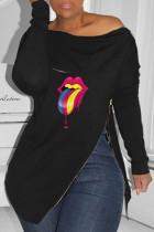 Black Fashion Casual Lips Printed Slit Zipper O Neck Tops