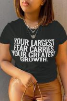 Black Casual Street Print Split Joint Letter O Neck T-Shirts
