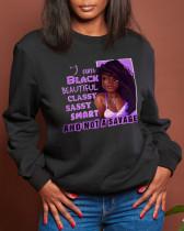 Black Casual Sportswear Print Split Joint Letter O Neck Tops