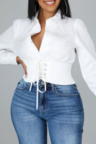 White Fashion Casual Solid Bandage Split Joint Turndown Collar Tops