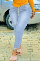 Light Blue Fashion Casual Solid Split Joint Plus Size Jeans