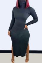 Black Fashion Casual Solid Slit Turtleneck Long Sleeve Dresses