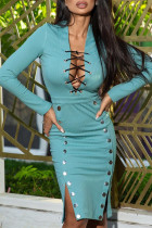 Light Blue Sexy Casual Solid Bandage Hollowed Out Slit V Neck Long Sleeve Dresses