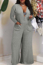 Grey Fashion Casual Solid Pocket V Neck Plus Size Jumpsuits
