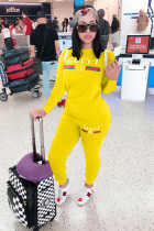 Yellow Casual adult Fashion Print Letter Two Piece Suits Patchwork pencil Long Sleeve Two-piece