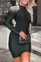 Black Fashion Sexy Patchwork Backless O Neck Long Sleeve Dresses