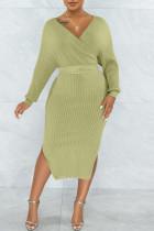 Green Sexy Solid Split Joint Slit With Belt V Neck Pencil Skirt Dresses