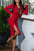 Red Sexy Casual Solid Bandage Hollowed Out Slit V Neck Long Sleeve Dresses