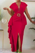 Red Elegant Solid Split Joint Flounce Slit Asymmetrical V Neck One Step Skirt Dresses