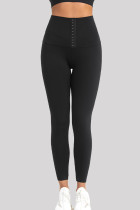 Black Casual Sportswear Solid Skinny High Waist Trousers