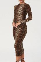 Leopard Print Sexy Print Split Joint O Neck One Step Skirt Dresses