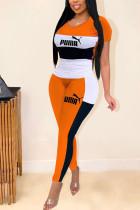 Orange Casual Fashion adult Patchwork Two Piece Suits Letter Print pencil Short Sleeve