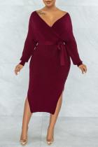 Burgundy Sexy Solid Split Joint Slit With Belt V Neck Pencil Skirt Dresses