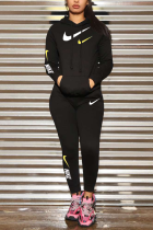 Black Casual Print Letter Hooded Collar Long Sleeve Two Pieces