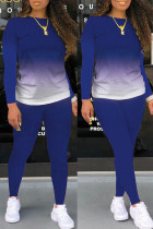 Blue Fashion Casual Gradual Change Print Basic O Neck Long Sleeve Two Pieces