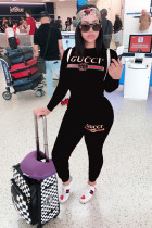 Black Casual adult Fashion Print Letter Two Piece Suits Patchwork pencil Long Sleeve Two-piece