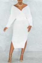 White Sexy Solid Split Joint Slit With Belt V Neck Pencil Skirt Dresses