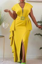 Yellow Elegant Solid Split Joint Flounce Slit Asymmetrical V Neck One Step Skirt Dresses