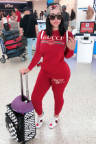 Red Casual adult Fashion Print Letter Two Piece Suits Patchwork pencil Long Sleeve Two-piece