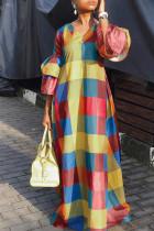 Multi-color Fashion Sexy Cap Sleeve 3/4 Length Sleeves V Neck A-Line Floor-Length ruffle Print Print Dresses