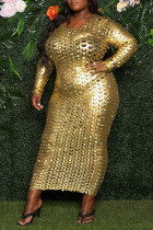 Gold Sexy Solid Ripped Split Joint O Neck One Step Skirt Dresses