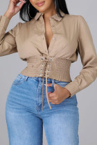 Apricot Fashion Casual Solid Bandage Split Joint Turndown Collar Tops