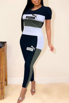 Grey Casual Fashion adult Patchwork Two Piece Suits Letter Print pencil Short Sleeve
