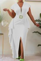 White Elegant Solid Split Joint Flounce Slit Asymmetrical V Neck One Step Skirt Dresses