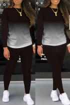 Black Fashion Casual Gradual Change Print Basic O Neck Long Sleeve Two Pieces