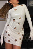 White Sexy Casual Solid Hollowed Out O Neck Long Sleeve Dresses