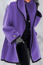Purple Fashion Casual Solid Split Joint Turndown Collar Outerwear