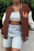Coffee Fashion Casual Patchwork Embroidered Cardigan Outerwear