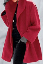 Red Casual Elegant Solid Split Joint Buttons Hooded Collar Outerwear