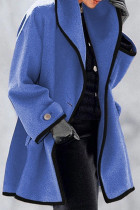 Blue Fashion Casual Solid Split Joint Turndown Collar Outerwear