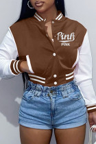 Brown Fashion Casual Letter Embroidery Split Joint Outerwear
