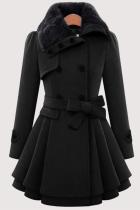 Black Fashion Elegant Buckle With Belt Turndown Collar Outerwear