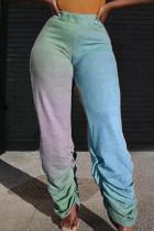 Blue Fashion Casual Gradual Change Print Fold Regular High Waist Trousers