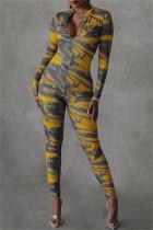 Yellow Fashion Casual Print Basic Zipper Collar Skinny Jumpsuits