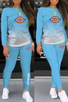 Light Blue Fashion Casual Gradual Change Print Basic O Neck Long Sleeve Two Pieces