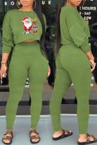Green Casual Print Santa Claus Pocket O Neck Long Sleeve Two Pieces