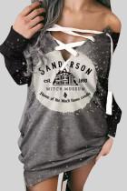 Grey Street Punk Print Bandage Split Joint V Neck Tops