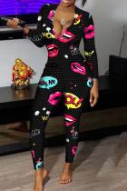 Black Sexy Print Split Joint V Neck Regular Jumpsuits