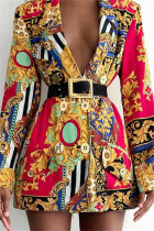 Red Fashion Casual Print Cardigan Turndown Collar Outerwear (Without Belt)