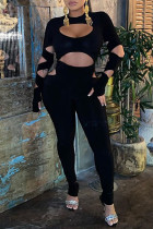Black Sexy Solid Hollowed Out Split Joint O Neck Skinny Jumpsuits