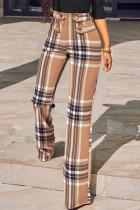 Khaki Fashion Casual Print Split Joint Straight High Waist Conventional Full Print Bottoms