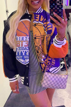 Multicolor Fashion Casual Patchwork Print Cardigan Outerwear